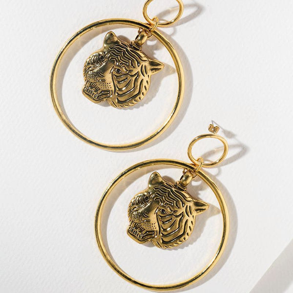 Roaring Tiger Hoop Earrings - Damnbling