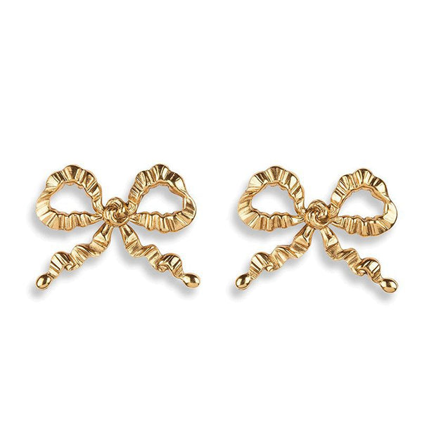 Golden Bow Knot Studs Post Earrings - Damnbling
