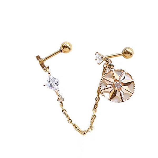 Octagram Star Diamond Chain Earrings - Damnbling