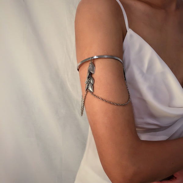 Metallic Leaf Chain Upper Arm Cuff - Damnbling