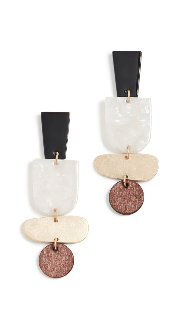 Wooden Statement Drop Earrings - Damnbling