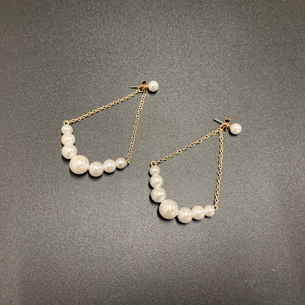 Triangle Petite Pearl Drop Earrings - Damnbling