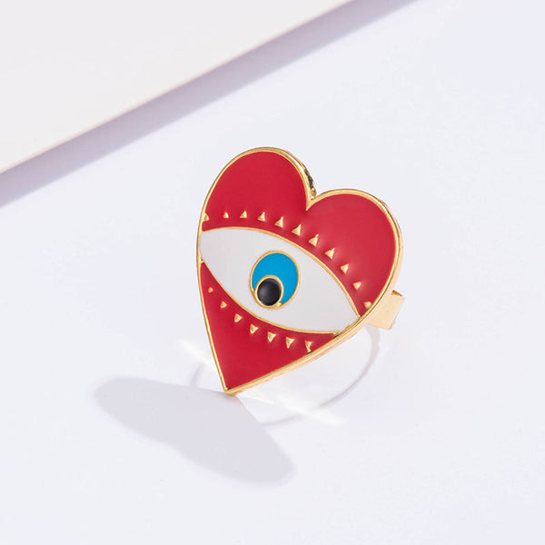 Heart Evil Eye Statement Ring - Damnbling