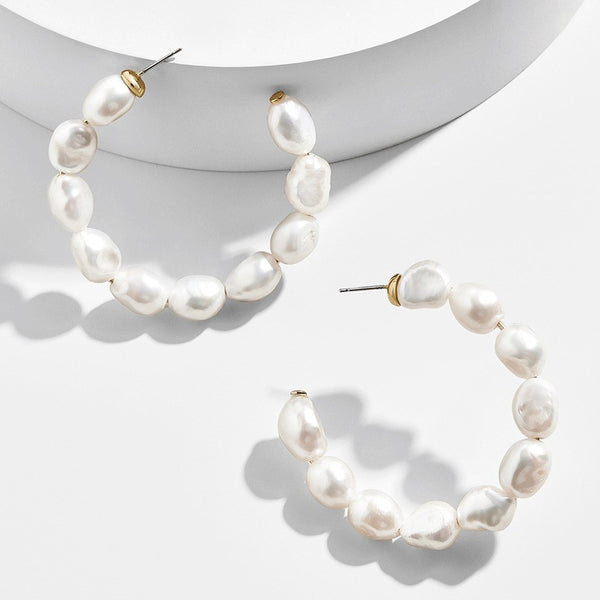 Fine Pearl Hoop Earrings - Damnbling