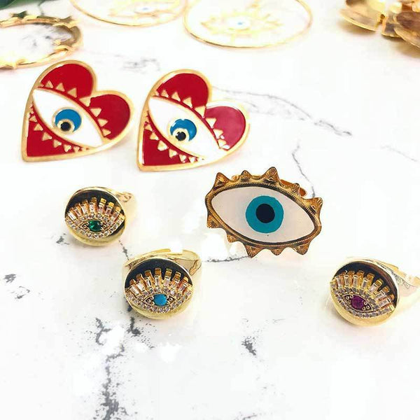 Vibrant Evil Eye Post Earrings - Damnbling