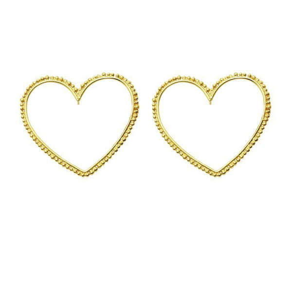 Dazzle Heart Hoop Earrings - Damnbling