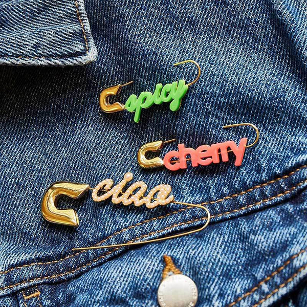 'Baby' Text Safety Pin Earrings - Damnbling