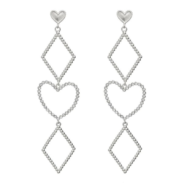 Heart Geometric Gold Drop Earrings - Damnbling