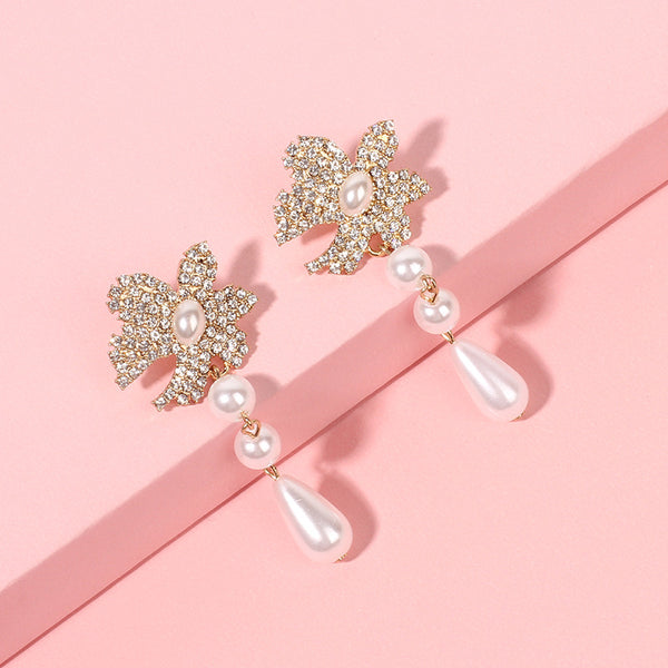 Pearl Fleur Drop Earrings - Damnbling