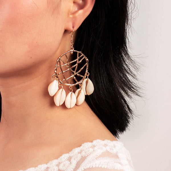 Dream Catcher Sea Shell Drop Earrings - Damnbling