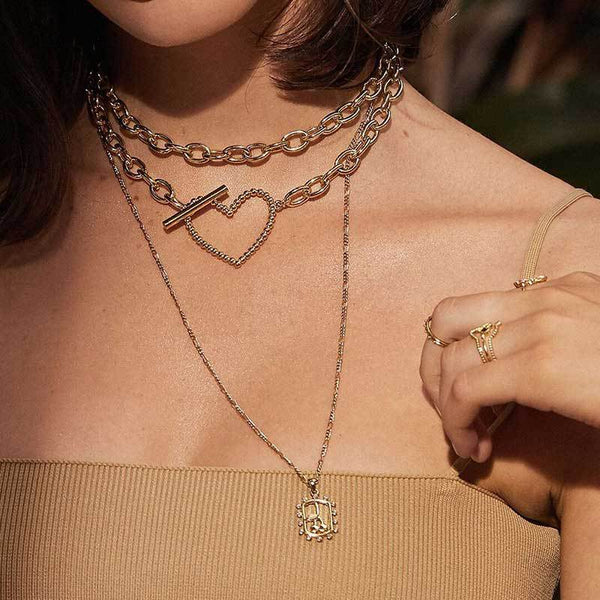 Heart Chain Layering Short Necklace - Damnbling