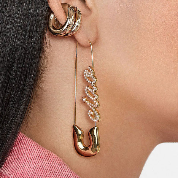 'Ciao' Pearl Text Safety Pin Earrings - Damnbling