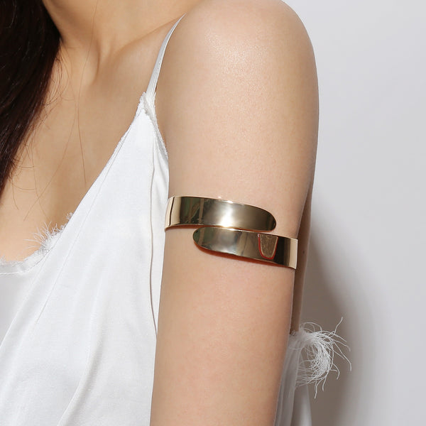 Gold Polished Upper Arm Cuff - Damnbling