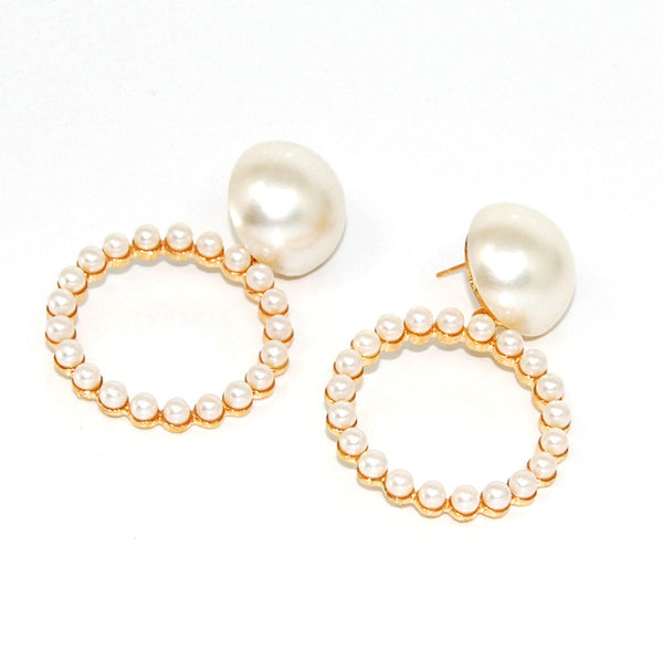 Vintage Golden Pearl Hoop Earrings - Damnbling