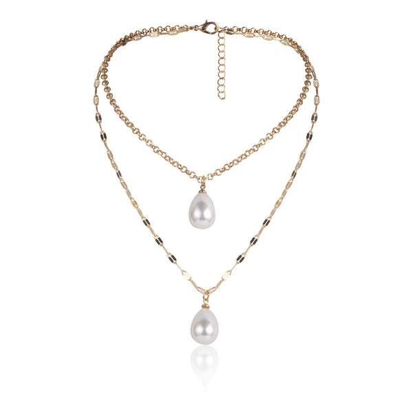 Simple Pearl Layering Necklace - Damnbling