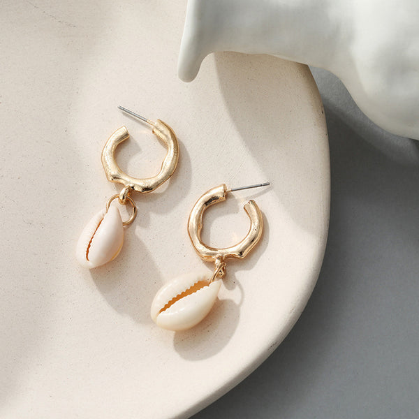White Sea Shell Ring Drop Earrings - Damnbling