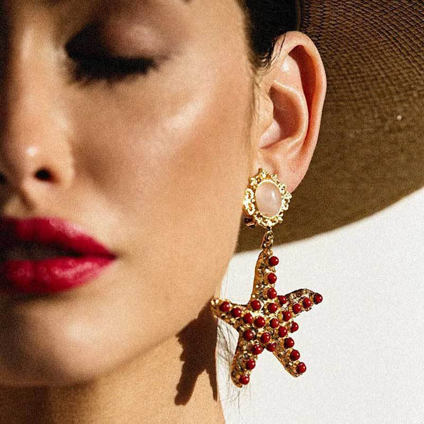 Palace Gold Sea Shell Drop Earrings - Damnbling