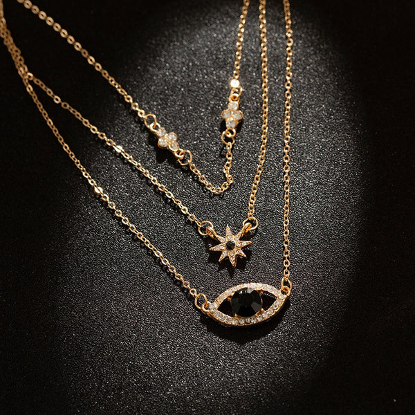 Evil Eye Petite Star Layering Necklace - Damnbling