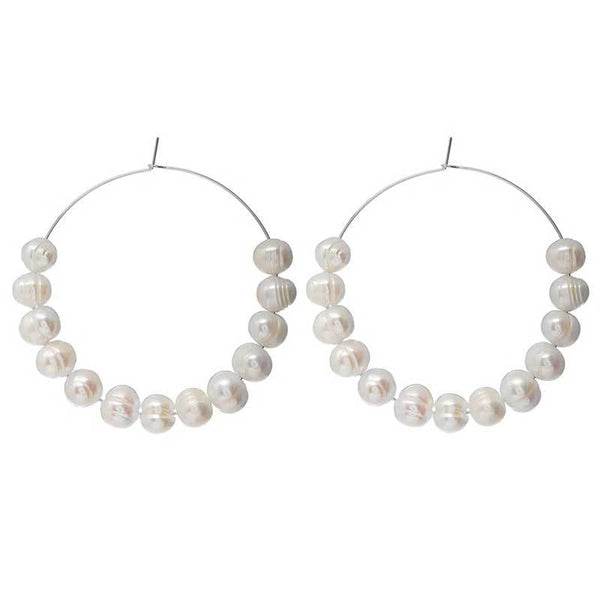 Shine Pearl Hoop Earrings - Damnbling