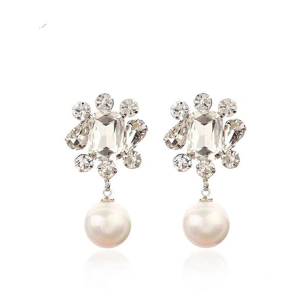Luxury Diamond Pearl Drop Earrings - Damnbling