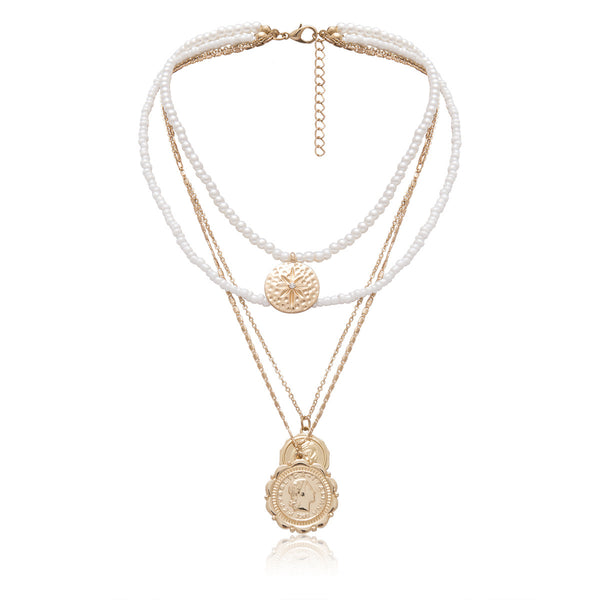 Petite Pearl Golden Coin Layering Necklace - Damnbling
