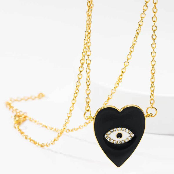 Black Evil Eye Pendent Necklace - Damnbling
