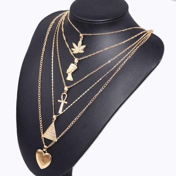 Gold Heart Leaf Layering Necklace - Damnbling