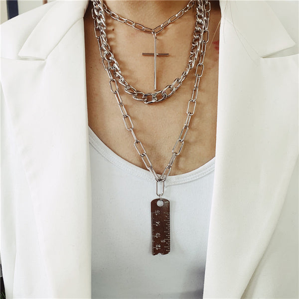 Gold Ruler Chain Layering Necklace - Damnbling