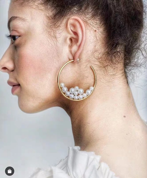 Pearl Stack Gold Hoop Earrings - Damnbling