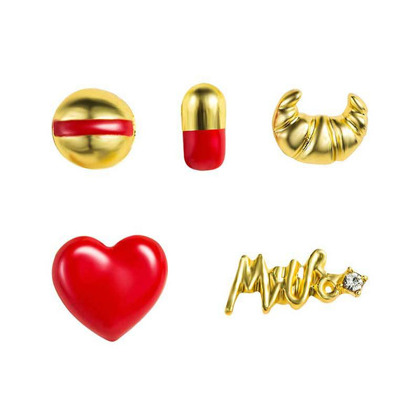 Red x Gold Pill Heart Series Studs Post Earrings Set - Damnbling