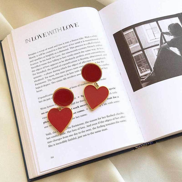 Retro Round Heart Drop Earrings - Damnbling