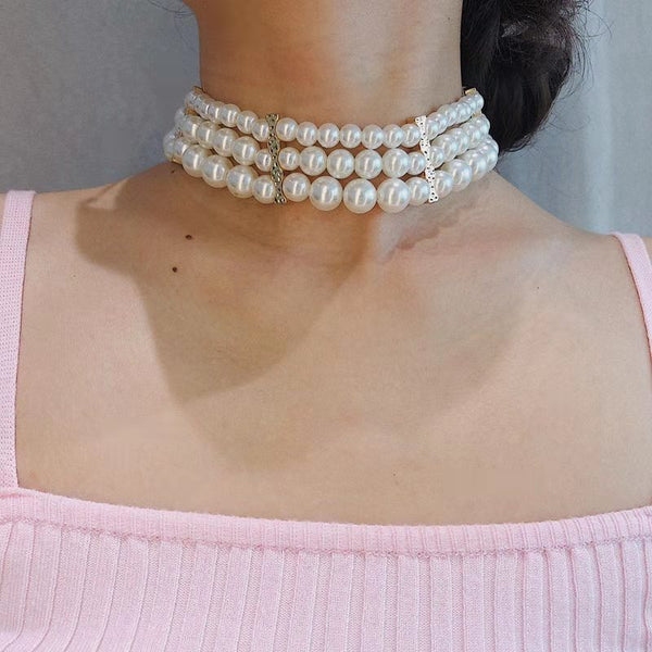 Lady Wide Pearl Choker - Damnbling