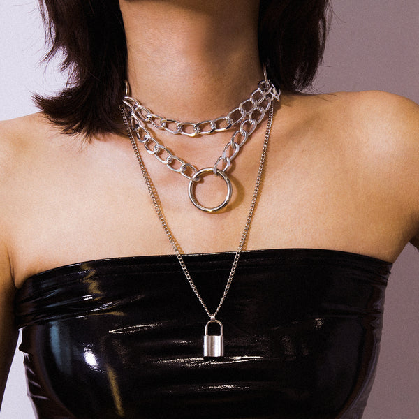 Silver Chain Lock Layering Necklace - Damnbling