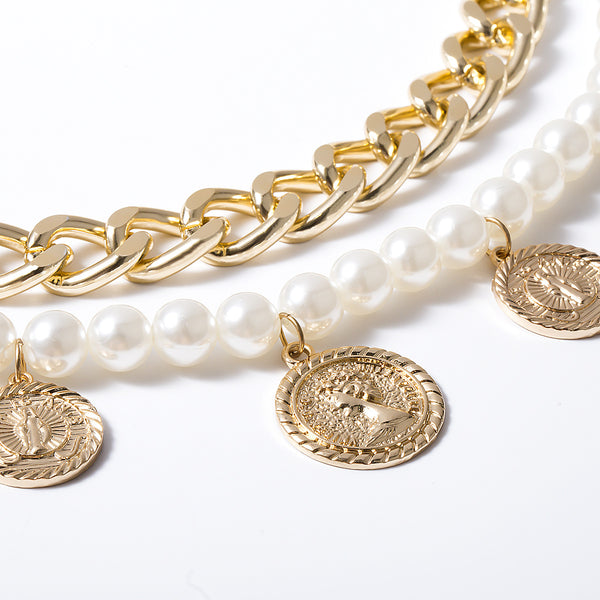 Gold Coin Big Pearl Layering Chain Belt - Damnbling