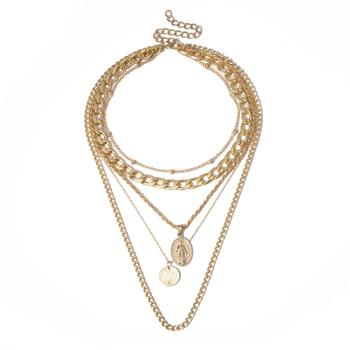 Gold Coin Chunky Layering Necklace - Damnbling