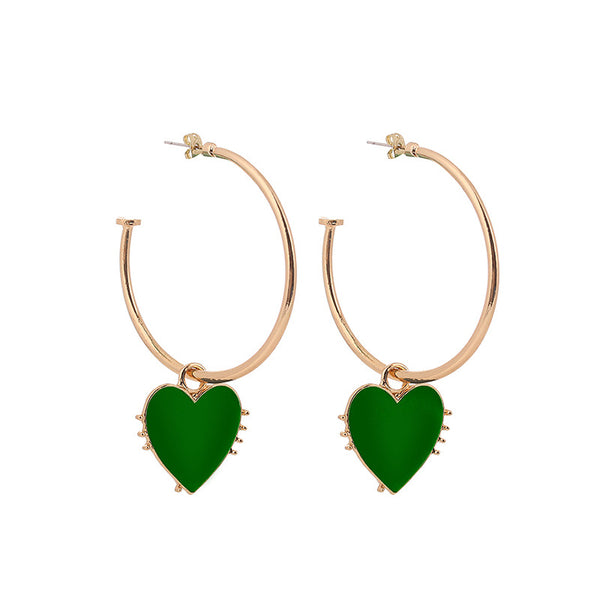 Red Heart Hoop Earrings - Damnbling