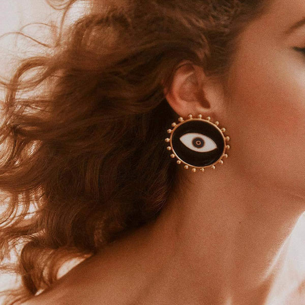Evil Eye Round Post Earrings - Damnbling