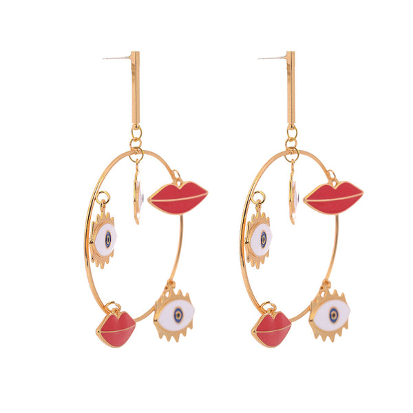 Evil Eye Heart Mix Hoop Earrings - Damnbling