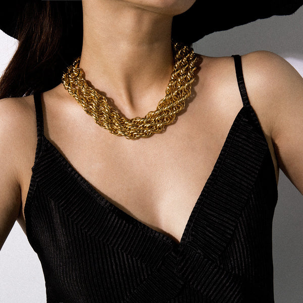Vintage Thick Twisted Chain Necklace - Damnbling