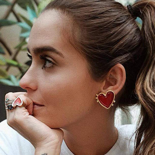 Red Heart Post Earrings - Damnbling