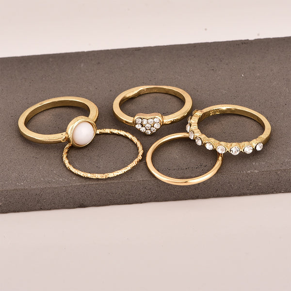 Petite Pearl Gold Layering Ring Set - Damnbling
