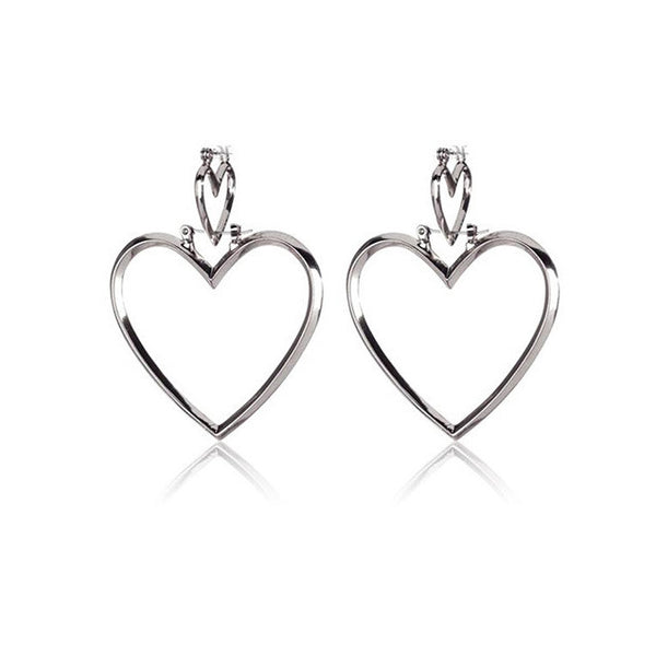 Heart Geometric Double Hoop Earrings - Damnbling