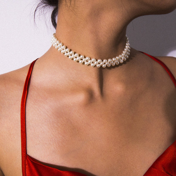 Elegant Petite Pearl Short Necklace - Damnbling