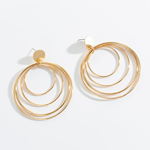 Golden Multi Rings Hoop Earrings - Damnbling