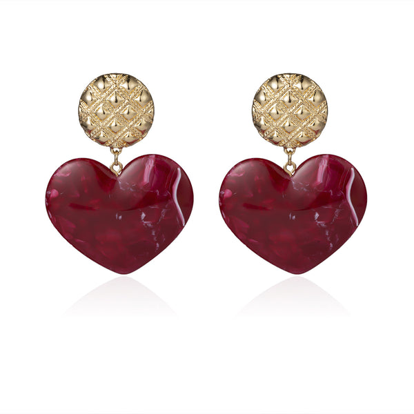 Vintage Marble Heart Drop Earrings - Damnbling