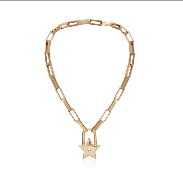 Star Lock Chain Statement Necklace - Damnbling