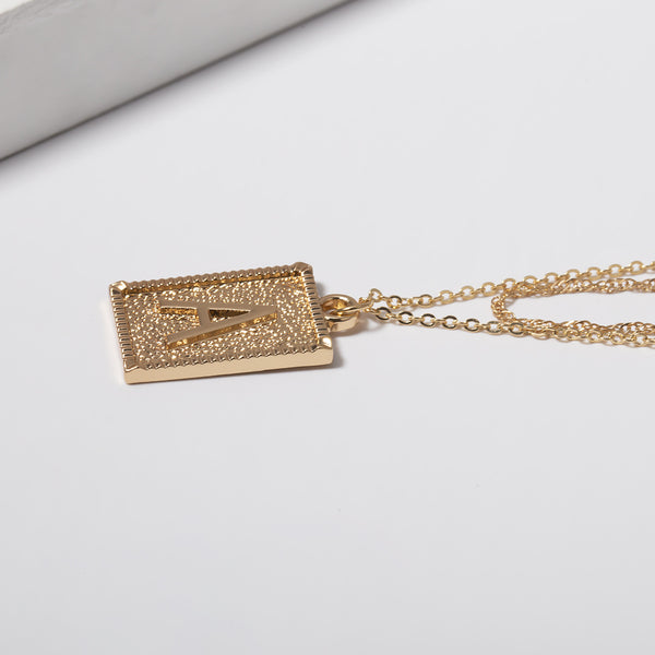 Letter A Double Layering Pendent Necklace - Damnbling