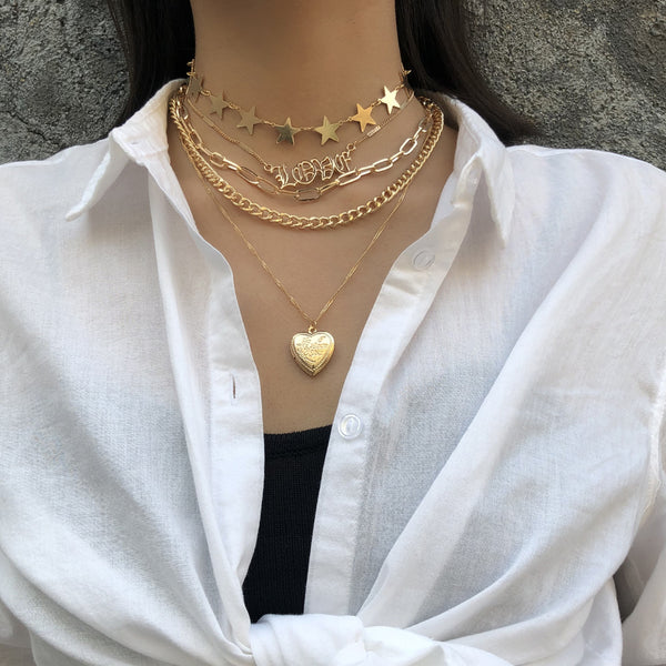 Swag Heart Pendent Layering Necklace - Damnbling