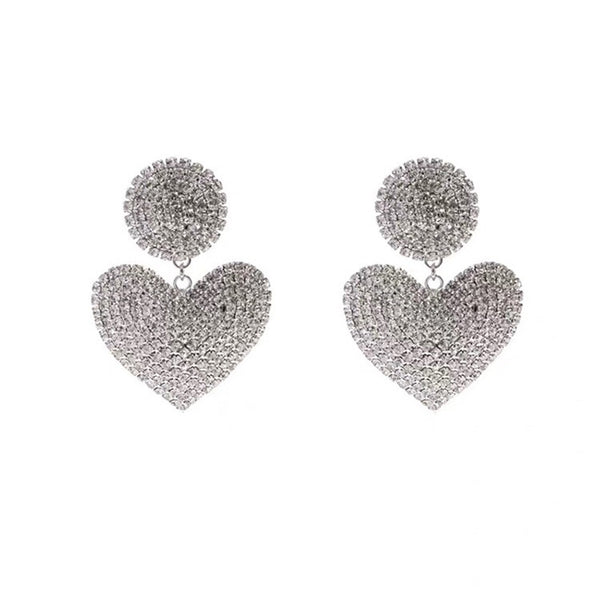 Crazy Bling Diamond Heart Drop Earrings - Damnbling