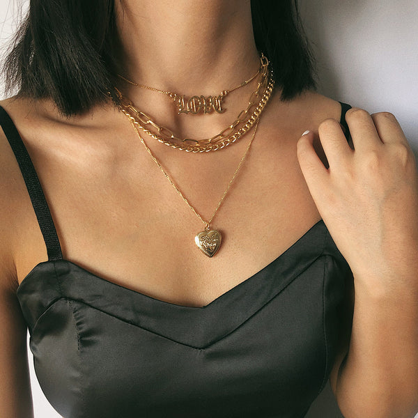Heart Pendent Layering Necklace - Damnbling